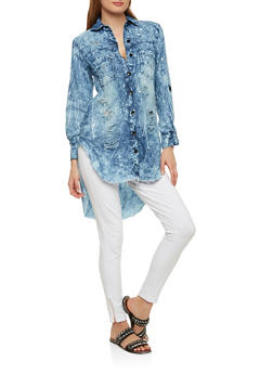 Paint Splatter High Low Button Front Tunic - 1075063405899