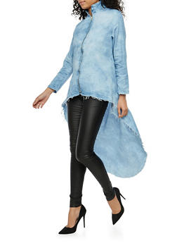 High Low Zip Up Chambray Top - 1075063406720