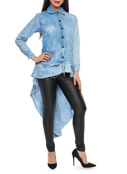 Tiered High Low Button Front Chambray Shirt - 1075063406723