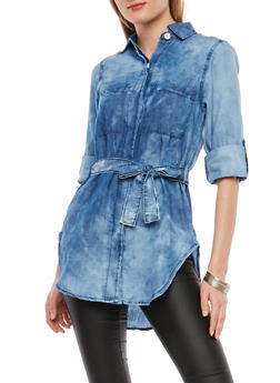 Belted Chambray Button Front Top - 1075063406912