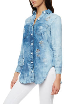 Distressed Cloud Wash Denim High Low Shirt - 1075063406922
