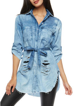 Ripped Chambray Button Front Top - 1075063406923