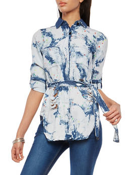 Distressed Acid Wash Paint Splatter Tie Waist Shirt - 1075063407004
