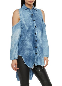 Cold Shoulder Button Front Denim Tunic - 1075063407040