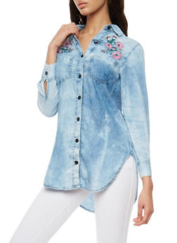 Cloud Wash Floral Embroidered Button Front Shirt - 1075063407046
