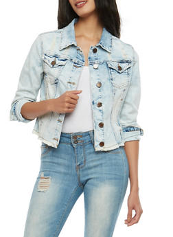 VIP Frayed Hem Denim Jacket - 1075065304971