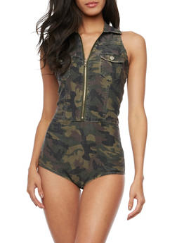 Sleeveless Denim Bodysuit - CAMOUFLAGE - 1075065306602