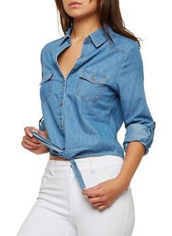 Tie Front Denim Shirt - 1075069391013
