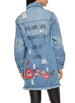 Distressed Embroidered Long Line Denim Jacket - 1075069392154