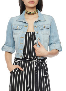 Highway Jeans Cropped Button Front Denim Jacket - 1075071310738