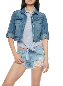Highway Jeans Cropped Button Front Denim Jacket - MEDIUM WASH - 1075071310738