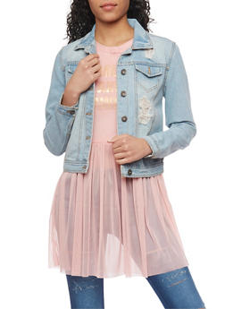 Highway Jean Distressed Button Front Denim Jacket - LIGHT WASH - 1075071310785