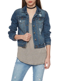Highway Jean Distressed Button Front Denim Jacket - DARK WASH - 1075071310785