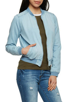 Highway Jeans Denim Bomber Jacket - LIGHT WASH - 1075071310856
