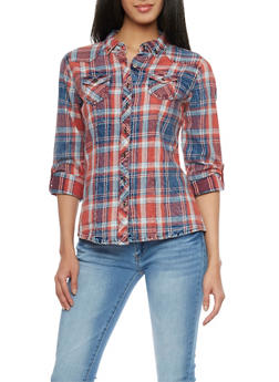 Highway Jean Plaid Denim Button Up Shirt - 1075071310911