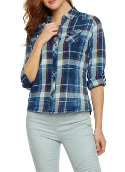 Long Sleeve Plaid Denim Shirt - 1075071310912