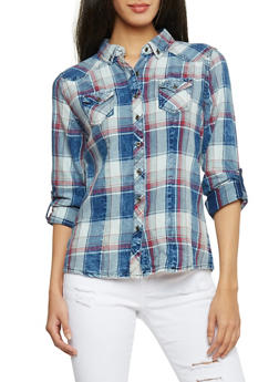 Highway Jean Plaid Denim Button Up Shirt - 1075071310913