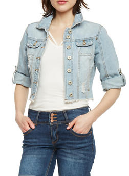Highway Jeans Cropped Frayed Denim Jacket - LIGHT WASH - 1075071310945