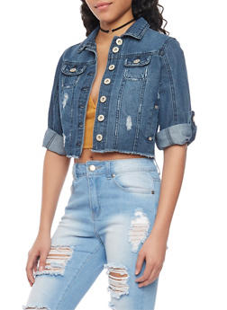 Highway Jeans Cropped Frayed Denim Jacket - DARK WASH - 1075071310945