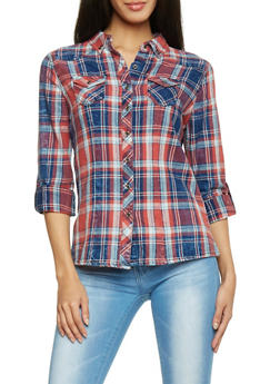 Highway Jeans Plaid Two Pocket Button Up Top - 1075071311111