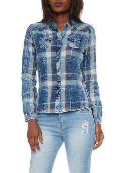 Highway Jeans Plaid Denim Button Up Top - 1075071311112