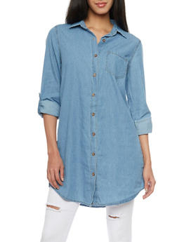Highway Jeans Denim Button Up Tunic Top - 1075071316379