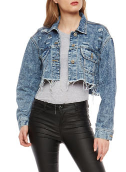 Highway Cropped Acid Wash Denim Jacket - 1075071317032