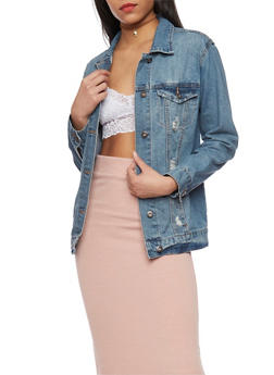 Highway Jean Distressed Oversized Denim Jacket - 1075071317780