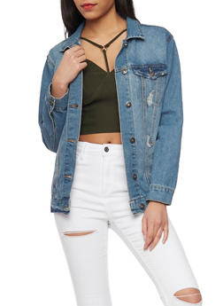 Highway Jeans Distressed Oversized Denim Jacket - DARK WASH - 1075071317780