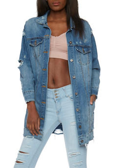 Long Line Oversize Distressed Denim Jacket - 1075071317904