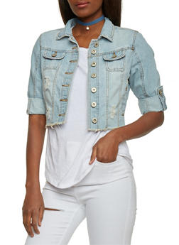 Distressed and Cropped Denim Jacket with Tab Sleeves - LIGHT WASH - 1075071317945