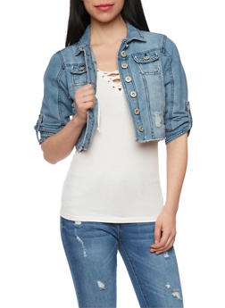 Distressed and Cropped Denim Jacket with Tab Sleeves - MEDIUM WASH - 1075071317945