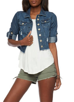 Distressed and Cropped Denim Jacket with Tab Sleeves - DARK WASH - 1075071317945