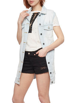 Oversize Distressed Denim Vest - 1075071317962