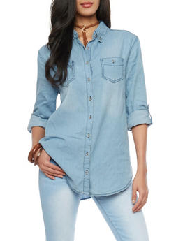 Highway Jeans Rolled Sleeve Chambray Shirt - 1075071318266