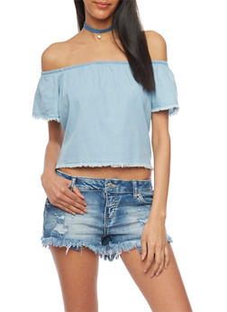 Off The Shoulder Frayed Chambray Top - 1075071318328
