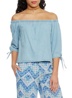 Tie Sleeve Off The Shoulder Chambray Top - 1075071318338