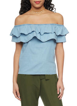 Double Ruffle Denim Off The Shoulder Top - 1075071318341