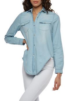 Button Front Denim Shirt - 1075071318391