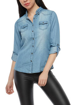 Denim Tabbed Sleeve Button Front Shirt - 1075071318910