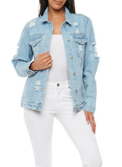 WAX Destroyed Denim Jacket - 1075071610105