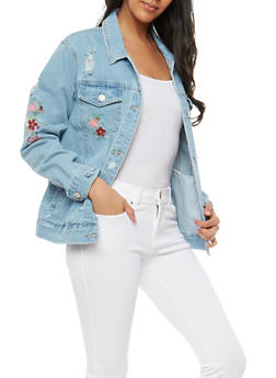WAX Embroidered Denim Jacket - 1075071610106