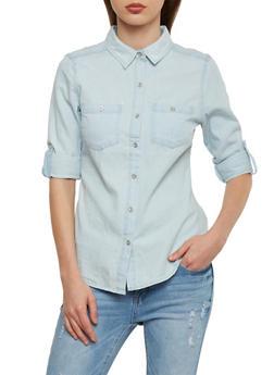 WAX Button Front Denim Shirt - 1075071619033