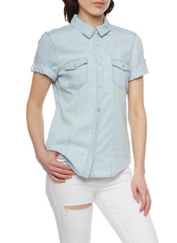 Denim Short Sleeve Button Front Top with Tabbed Sleeves - 1075071619034