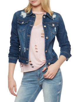 WAX Jean Destroyed Denim Jacket - MEDIUM WASH - 1075071619068