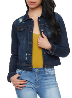 WAX Jean Destroyed Denim Jacket - DARK WASH - 1075071619068