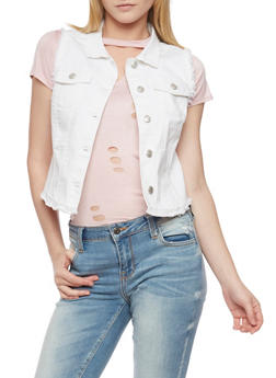 WAX Jean Frayed Denim Vest - WHITE - 1075071619073