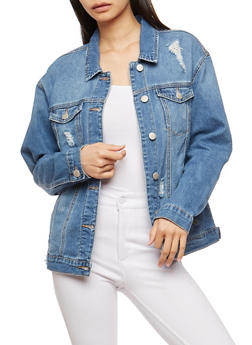WAX Distressed Jean Jacket - 1075071619091
