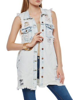 Long Line Destroyed Denim Vest - 1075072290011