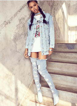 Long Line Distressed Denim Jacket - 1075072290711